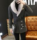 Fashion Mens British Casual Trench Coat Printing Faux Fur Collar Jacket Ooat New
