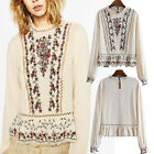 Vintage Hippie Mexican long slv Boho Ethnic Floral Embroidered Shirt Blouse TOP