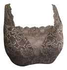 Ladies Moulded Cup Underwire Floral Lace Overlay Modesty Panel Brown Insert Bra