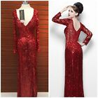 NWT PRIMAVERA COUTURE 9930 RED LONG SLEEVE  EMBLISHED V-NECK GOWN $499 AUTENTIC