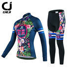 CHEJI Women's Retro Thermal Winter Cycling Jersey Pants Set Fleece Cycling Kit