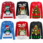 MEN LADIES RUDOLPH CHRISTMAS TREE LIGHT UP MUSIC JUMPER XMAS SWEATER SIZE 8-16
