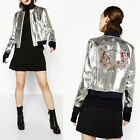 Womens floral Embroedery Back Silver Faux Leather Bomber Jacket Coat Zipper