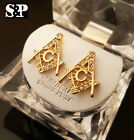 NEW ICED OUT HIP HOP GOLD, SILVER PT CZ FREEMASON MASONIC RAPPERS EARRINGS