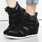 Women's Fashion Retro Real Leather High Top Wedges Lace Up Velcro Sneaker Shoes