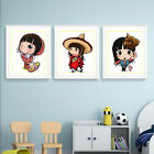 """Cheerful Funny Cartoon Girl Character 11CT Stamped Cross Stitch kit, 7.5"""" x 9.4"""""""