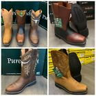 MENS WORK BOOTS GENUINE LEATHER SQUARE TOE RODEO BROWN COWBOY