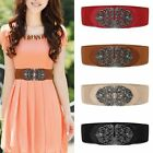 Women's Vintage Metal Flower Elastic Stretch Buckle Wide Waist Belt Waistband AU