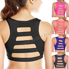 Caged Cutout PADDED Sports Bra Ladder Back Bustier Crop Top Gym Workout