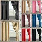 Thermal Insulated PENCIL PLEAT Blackout PAIR Curtains Ready Made Free Tiebacks