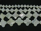 Natural White Mother Of Pearl MOP Shell Clover Spacer Loose Beads Strand 16''