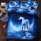 3D Doona Cover Set Unicorn KING Queen Size Bed Quilt/Duvet Cover Set Pillowcases