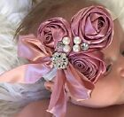 Dusty Rose Flowers with Rhinestones and Pearls Headband NWT