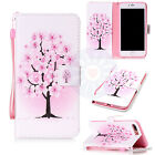 Pink Flower Tree Flip Mix Card Wallet PU Leather Stand Case Cover For Phones #H