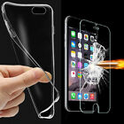 Tempered Glass + Ultra Thin Clear TPU Protective Case Cover For Various Phones