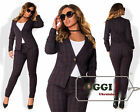 Elegant Woman Pants Suit Stretch-Wool Long Sleeve Casual Wear to work- Plus size