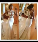 UK White/Ivory Sleeveless Mermaid Lace Evening Prom Wedding Dresses Size 6-16