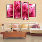 4 Pcs Unframed Home Decor Canvas Painting Pink Flower Landscape Wall Art Picture