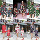 Women Kids Long Sleeve Santa Claus Christmas Casual Party Swing Dress XMAS Gift