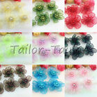 20/50pcs Satin Ribbon Sheer Flower with Pearl Wedding Appliques Crafts 15 Colors