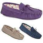 Ladies new Purple Stone Navy Mokkers Moccasin Real Suede Slippers Cosy