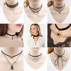 Fashion New Women Choker Lace Necklace Velvet Pendant Black Crystal Jewelry