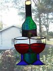 Handmade Stained Glass Wine Bottle & Glasses Red Wine (WB37)