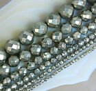 "Faceted Natural Iron Pyrite Gemstone Round Spacer Beads 15.5"" 4mm 6mm 8mm 10mm"