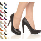 WOMENS LADIES PLATFORM HIGH HEEL PARTY EVENING COURT SHOES PUMPS SIZE