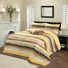 Luxury Mogul Printed Paint Stripe Quilted Bedspread Throw Bed Spread