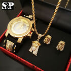 MEN HIP HOP ICED OUT GOLD PT JESUS FACE WATCH & NECKLACE & EARRINS COMBO SET