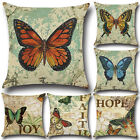Fashion Butterfly Flower Letters Cotton Pillowcase Cushion Cover Home Sofa Decor