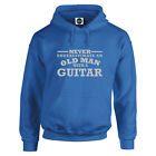 Guitar Never Underestimate An Old Man With an HOODIE Silver text S to 5XL