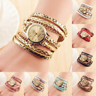 Women's Qyartz Casual Vintage Wristwatch Weave Wrap Leather Bracelet Wrist Watch