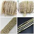 1-row/2-row/3-row/4-row/5-row crystal rhinestone trims close gold chain ss16