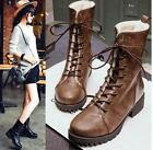 Womens Winter Retro Combat Lace Up Fur Lining Knight Mid calf Boots Plus Size