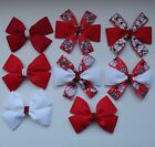 LARGE CHRISTMAS HAIR BOW- 10cm- Red, White- different designs to choose from