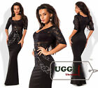 Elegant Evening Woman Dress Diving Guipure Short Sleeve Maxi Formal Ball Gown