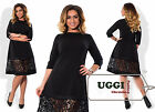 Elegant Woman Dress Crepe-Diving Guipure 3/4 Sleeve Knee-Length- Plus size