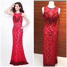 NWT PRIMAVERA COUTURE 1532 RED-NUDE  SEQUINED LACE GOWN MSRP$499 SZ 0,2,4,6 $229