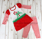 Toddler & Girls Christmas Holiday CANDY CANE Red Boutique Dress  Leggings Outfit