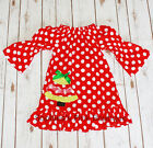 Toddler & Girls Christmas Holiday TREE Red White Boutique Ruffle Peasant Dress