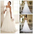 UK White/Ivory Strapless Chiffon A Line Beach Bridal Wedding Dresses Size 6-18