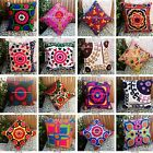 """Handmade Indian Pillowcases Suzani Embroidered Cushion Covers 16x16"""" Decorative"""