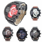 1X Men's Fashion Sport Stainless Steel Leather Band Quartz Analog Wrist Watch