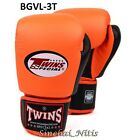 TWINS SPECIAL BOXING GLOVES  BGVL 3T ORANGE BLACK  MUAY THAI  FIGHT MMA