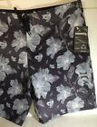 Hurley Phantom Swim Board Shorts Trunks Suit Sz 38 Black Gray Hibiscus