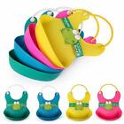 Baby Stereo Bib Waterproof Silicone Pick Rice Pocket Cartoon Cute Child Baby Bid