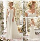 UK Simple White/Ivory Lace Beach A Line Wedding Dresses Bridal Gown Size 6-16
