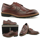 Mens New 4 Eye Wing Cap Oxblood Brogue Gibson Leather Memory Foam Shoes 6 - 12